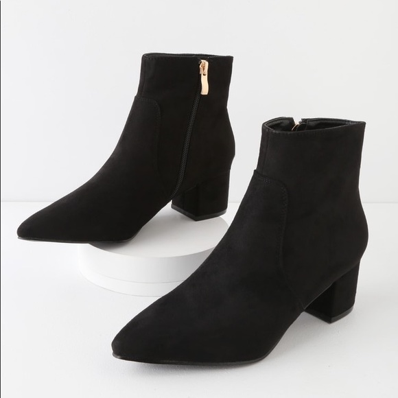 Sofia Black Suede Pointed Toe Ankle
